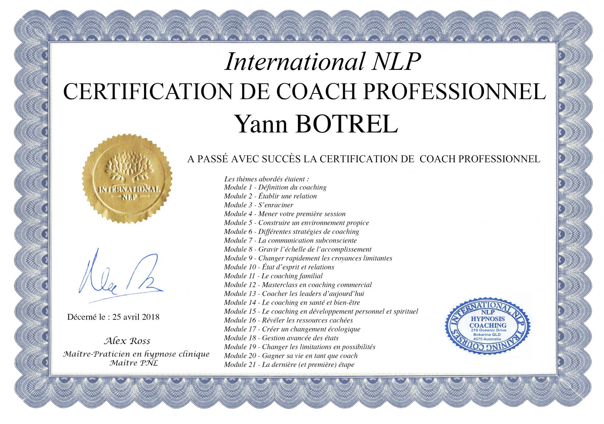 Certification de coaching professionnel