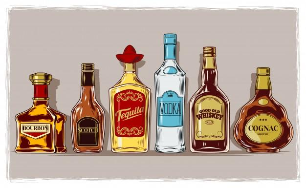Vector set of bottles with alcohol and stemware 1441 42